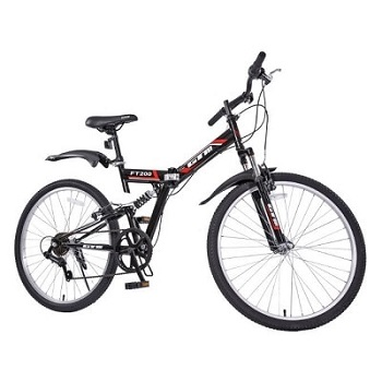 Folding Mountain Bike 7 Speed Black 26 Bicycle Shimano Hybrid Suspension Sports