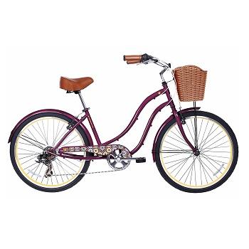 Gama Bikes Women's Cruiser Step-Thru 7 Speed Shimano Hybrid Urban Commuter Bicycle
